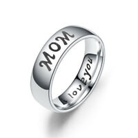 Mother's Day I Love You Letters Titanium Steel Finger Ring Mom-Daughter Gift MA