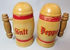 "Vtg Salt & Pepper Shaker Set Wood Wooden Stein Mug 4.5"" tall Japan"