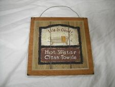 Life Is Good Hot Water Clean Towels Country Bath Wooden Wall Art Sign Bathroom