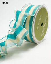 MAY ARTS RIBBONS~SHEER STRIPE~TURQUOISE & IVORY~WIRE EDGE~1.5 INCH X 1 YARD!