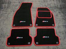 Negro/rojo Super Terciopelo alfombrillas de para caber Audi Rs4 B7 (2006-2008) + Rs4 Logos (x4)