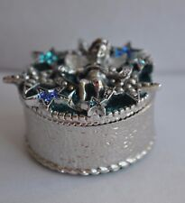 Kirks Folly Angel Gathering And Star Trinket Box In Silver Tone