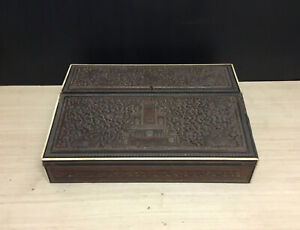 NICE ANTIQUE ANGLO INDIAN CARVED WRITING STATIONERY BOX WITH FITTED INTERIOR