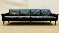 VINTAGE DANISH MID CENTURY GEORG THAMS 4 PERSON SOFA IN SOFT BLACK LEATHER 1964