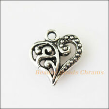 6Pcs Antiqued Silver Tone Heart Charms Pendants Connectors 19x31mm