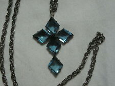 ...Silver Tone,Open-back Diamond Shape Blue Crystals Cross Pendant Necklace...