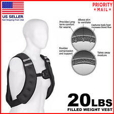 Weighted Weight Vest Adjustable Training Fitness Workout Strength Exercise 20 LB