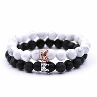 Distance Couple Bracelet With CZ Crown King and Queen Matte Agate Stone 8mm Bead