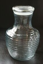 Vintage Anchor Hocking Glass 2 Quart Ribbed Carafe Decanter with Lid Excellent !