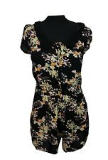 MISS SELFRIDGE Playsuit Size 8 Black w/ Multi Floral L28 Evening Holiday Party *