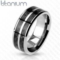 Men's 8mm Solid Titanium Black Carbon Fiber Inlay Wedding Ring Band Size 7-13