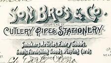 1889 Invoice ~ Son Bro's & Co. - Cutlery Pipes Stationery ~ California