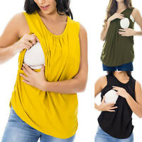 Women Maternity Mom Nursing Vest Tank Summer Solid Sleeveless Top Blouse T Shirt