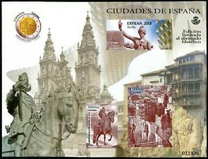 SPAIN 2018 EXFILNA CITIES OF SPAIN LIMITED EDITION CINDERELLA SOUVENIR SHEET NH