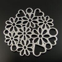 32860 Antique Silver Tone Retro Alloy Hollow Flower Heart Connector Pendant 15pc