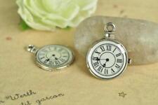 12pcs Clock Charm Pendant Antique Silver Necklace Accessory Steampunk Tibetan