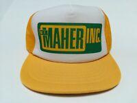 VTG-1980s Maher Inc Sawing mesh big patch trucker snapback hat cap yellow