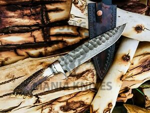 John Henry CUSTOM HAND MADE DAMASCUS STEEL-HUNTING KNIFE- CROWN STAG ANTLER