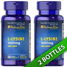 Puritan's Pride L-Lysine 1000 mg 2 X 60 Pills USA Amino Acid (as L-Lysine HCI)