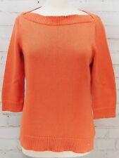 RALPH LAUREN Boatneck Sweater Orange/Coral 100% Cotton 3/4 Sleeves Size Medium M
