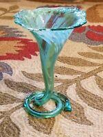 Green White Hand Blown ART GLASS Tulip Trumpet Flower SPIRAL COIL Base Vase