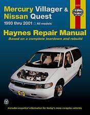MERCURY VILLAGER & Nissan CORSA 1993 - 2001 tutti i modelli Haynes Manuale Riparazione