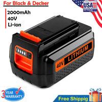 40 Volt For Black & Decker LBXR36 LBX2040 LHT2436 LST136 2.5Ah Lithium Battery