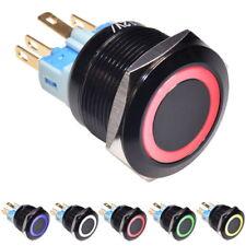 Druckschalter Schalter Rastend Knopf Durchmesser 22mm LED Ring beleuchtet 12V