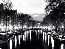 I canali di Amsterdam LUCI NOTTE NERO BIANCO art print poster foto bmp1603a