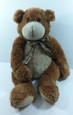 "Large Animal Alley Plush Bear Brown Stuffed Animal  Bow Measures 24"" Collectible"