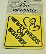 Newlyweds on Board Car Magnet Wedding Gift Bridal Small Auto Decal Set of 2