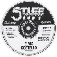 Elvis Costello Alison record label vinyl sticker. Stiff Records
