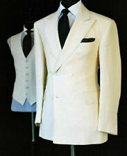 Mens Cream Cotton Linen Suit Groom Tuxedos Party Prom Formal Wedding Suit Custom