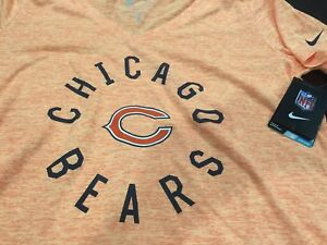 WOMENS NIKE SHORT SLEEVE CHICAGO BEARS FOOTBALL T SHIRT ORANGE SIZE M NWT