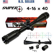 SNIPER 4-16X40 Rifle Scope Clear Lens Rings Caps Sunshade RGB Mil-Dot  Free Ship