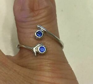 Women's 0.8ct Round Blue Sapphire Tiny Toe Ring 14k White Gold Finish 925 Silver