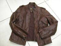 rrp£180 Ladies NEXT brown real leather JACKET COAT size UK 12 biker bomber racer