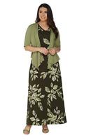 Denim & Co. Printed V-Neck Sleeveless Maxi Dress w/ Drape Front Shrug -Olive/ S