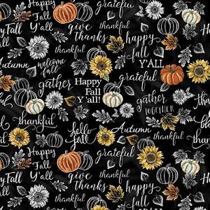 Fall Fabric - Hello Beautiful Word & Pumpkin Black - Timeless Treasures YARD