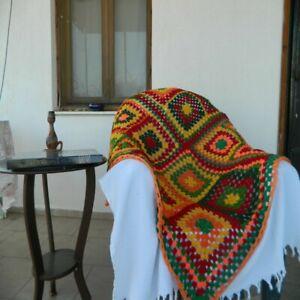Handmade Square Granny Blanket 4x4 ft Bohemian Colorful Wool Sofa Throw Blanket