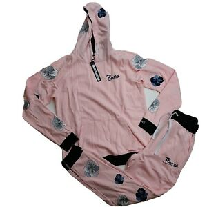Genuine men 2p set HOODIE & PANTS 100%AUTHENTIC size LARGE soft pink flower