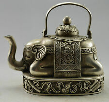 Asia Collectible Old Handwork Tibet Silver Carved Elephant Tea Pot