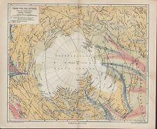 Landkarte map 1877: NORD-POLARLÄNDER. Alaska Russisches Reich Grönland Island
