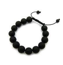 Glass Stone Beads Bracelet.Mhb-47 Men'S 12mm Matt Black