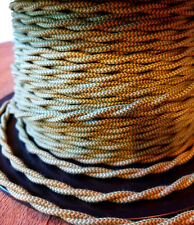Cloth Covered Twisted Wire - Green/Yellow Pattern Vintage Style Fabric Lamp Cord