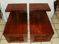 Pair of Mid Century Solid Cherry Step End Tables / Side Tables  (T401)