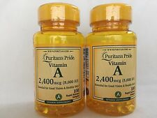 Puritan's Pride 200 Softgels Vitamin A 2,400 mcg (8,000 IU) Made In USA