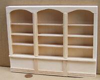 1:12 Scale Natural Finish Wooden Triple Shelf Unit Tumdee Dolls House 060