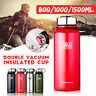 Double Walled Stainless Steel Vacuum Flask Insulated Water Drink Bottle 0.8-1.5L