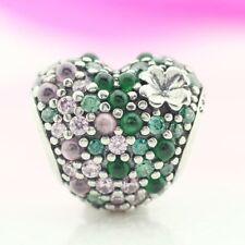 925 Sterling Silver Gleaming Clover Heart Love Charm For European Bracelet Chain